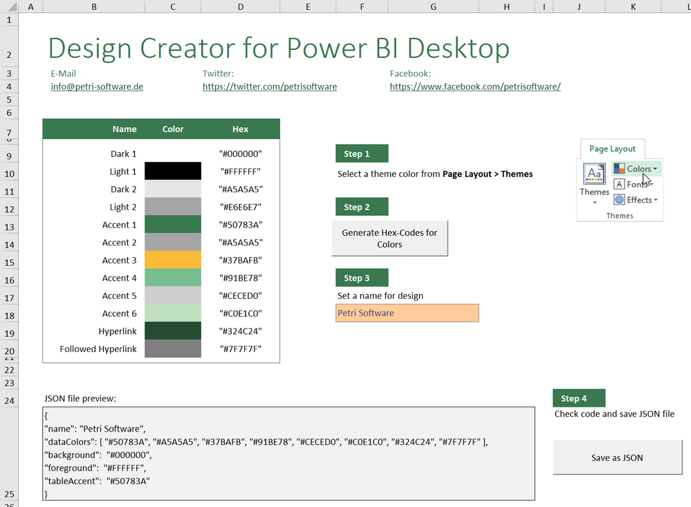 Excel tool to convert an Office Theme into an Power BI Desktop Theme
