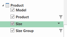 Product Dimension in Excel