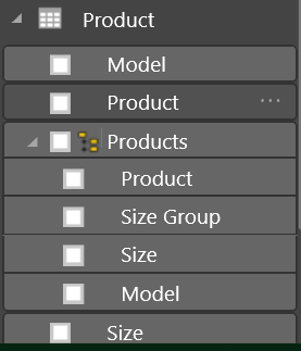 Product Dimension in Power Bi