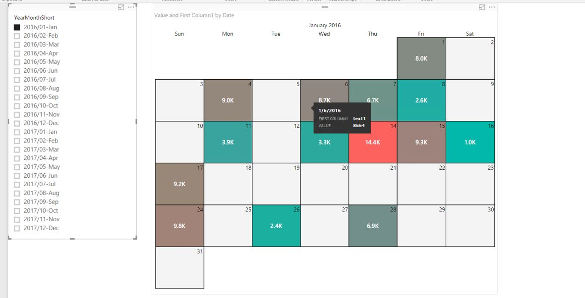 outlook style calendar in power bi for text entri