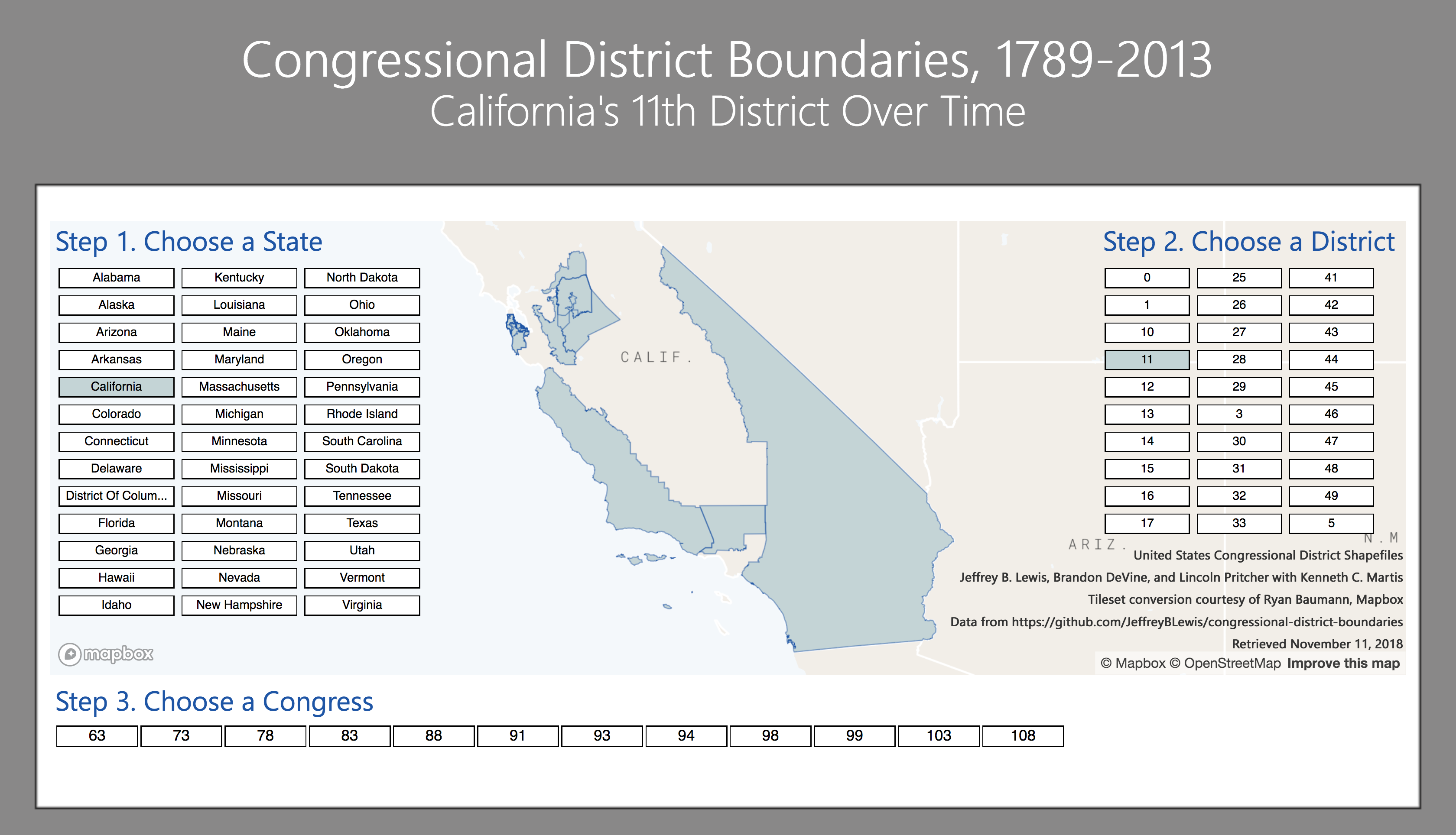 U.S. Congressional District Boundaries Over Time