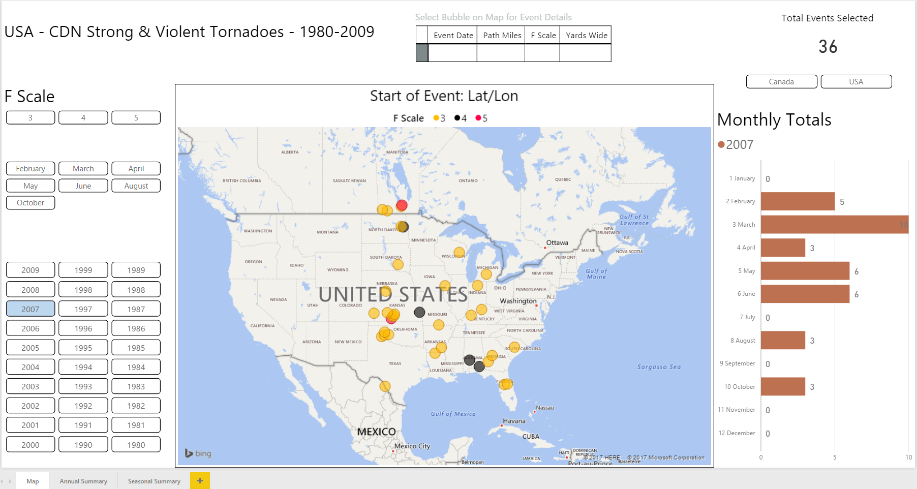 US and Canadian Strong & Violent Tornadoes, 1980-2009