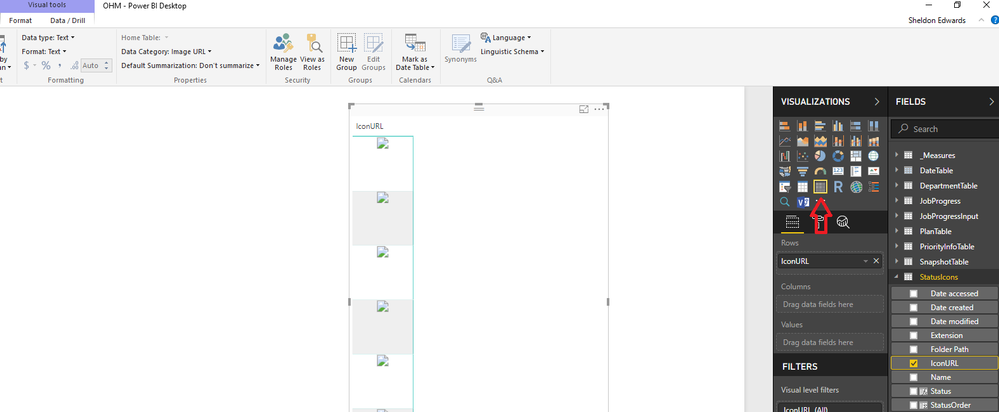 When I switch from Table to Matrix, the images no longer display correctly. This happens on Row or Column