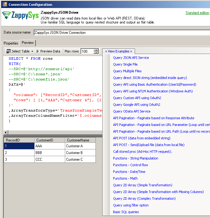 ZappySys ODBC JSON Driver - SQL Query Preview (Read from JSON / XML / CSV File or REST API
