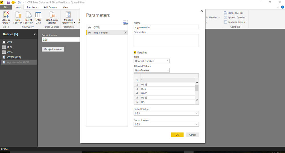 Parameter table creation