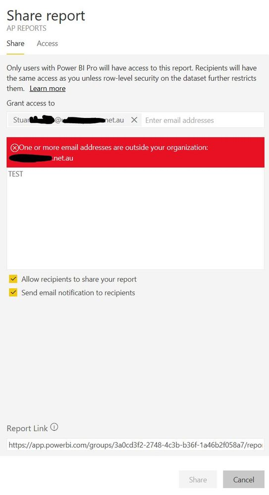 Share report option doenst allow external users?