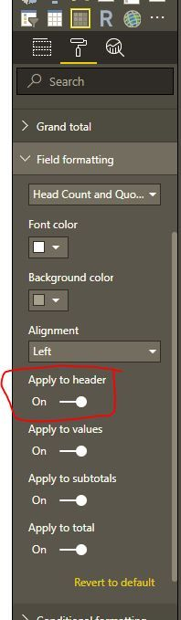 Matrix Formatting: Apply field formatting to header