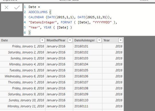Formula to create date table