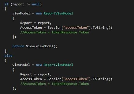 Code to get selected report data using generated Access Token