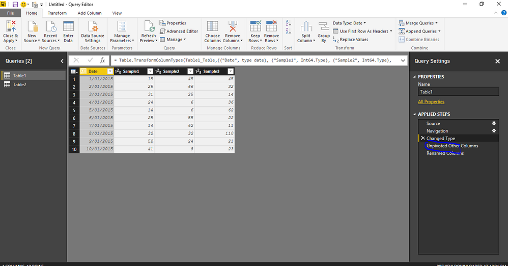 Select the Date column and Create a Query step - unpivot other columns