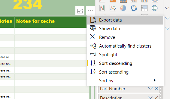 """In the desktop, the exact same matrix will give me its ellipsis & """"export data"""" option"""