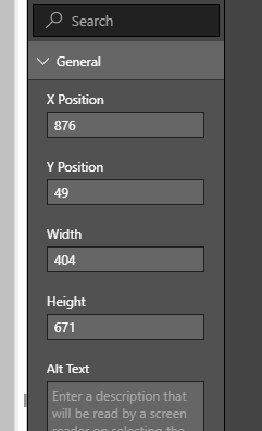 Report PowerApps Visual size