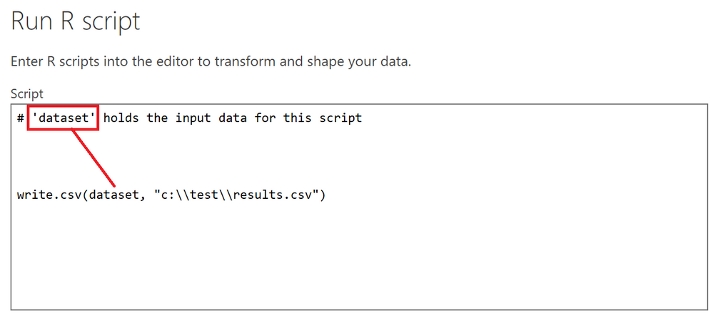 Utilising the 'dataset' dataframe that Power Query has informed me about