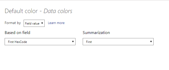 Setting the Data Colors > Default Color to the Hexcode