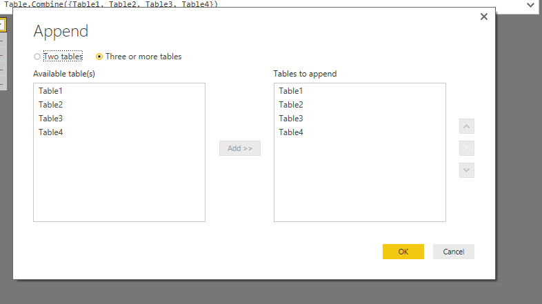 Append 3 or more tables
