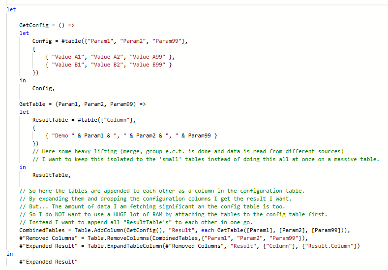 Working example but attatching to config table