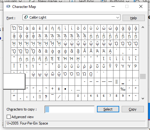 "Charmap.exe is a good application for finding ""whitespace"" chars."