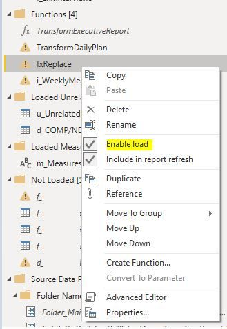 Enable load shows up as activated then the functions are in stale state