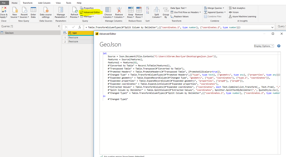 Transformdata-->Getdata-->Newquery-->advancededitor--> cody the code and paste--> apply