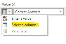 In the value's list Select a column
