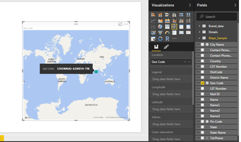 "Power BI Map showing a single data point on the map(instead of 40 required points) with the calculated field ""Geo Code"""