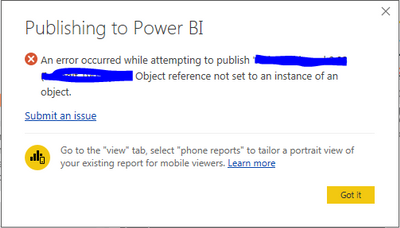 Object Reference Not Set To An Instance Of An Obje Microsoft Power Bi Community