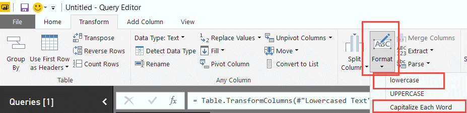 Format transformations in Power Query