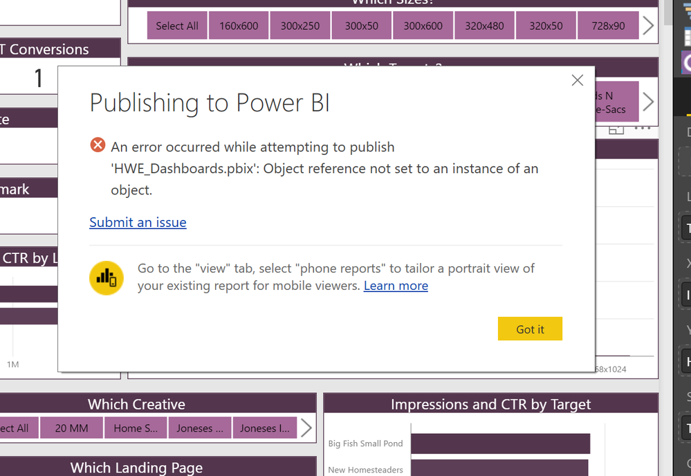 Solved Cannot Publish To Workspace Object Reference Not Microsoft Power Bi Community