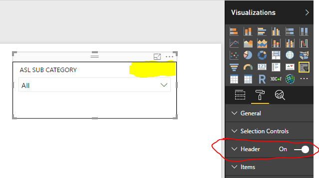 Enable Header switch for Slicer Visual