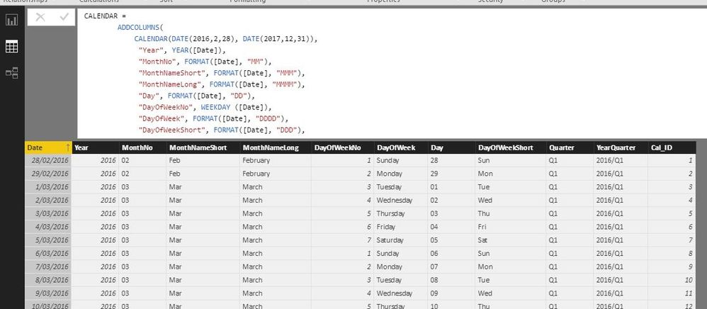 The Data View of the Calendar table creation