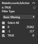 Services - converted values to -1/0 but left the 'TRUE' value select.  All Boolean data was converted so no values = True