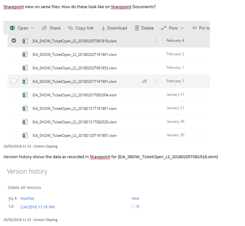 Sharepoint file information