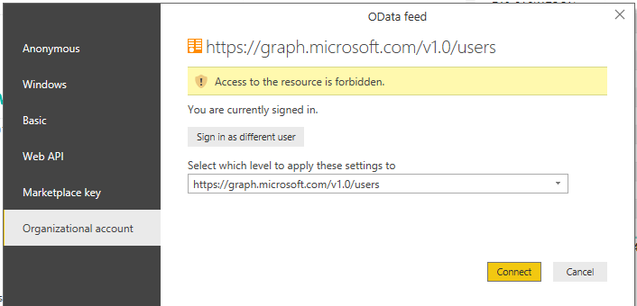 Error getting OData from Microsoft Graph: Access t    - Page