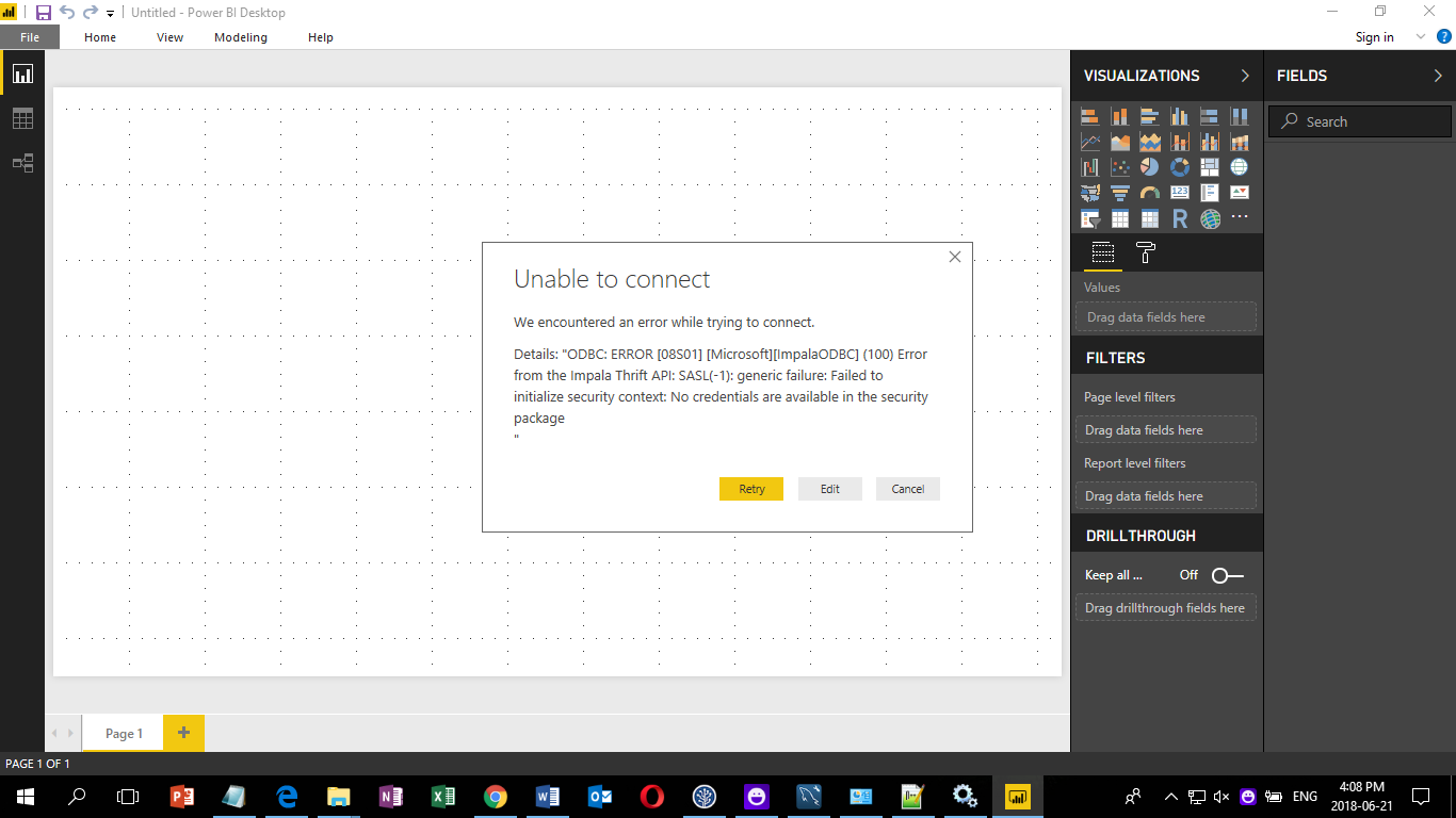 Unable to connect to Impala data source - Microsoft Power BI