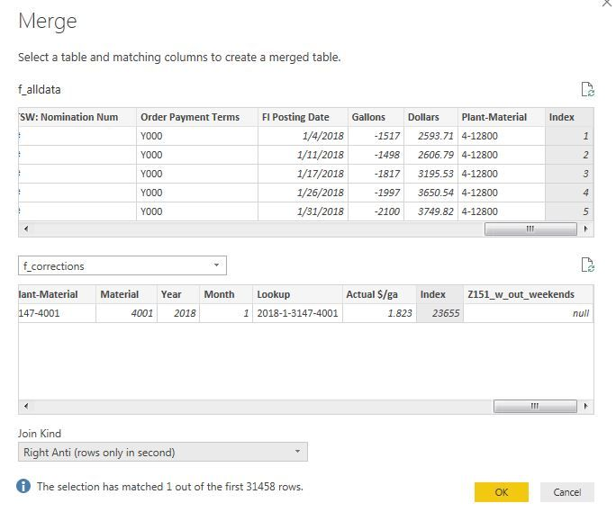Solved: Merge queries  How replace a row? - Microsoft Power BI Community