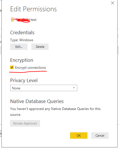Solved: unable to connect to the data source using an encr