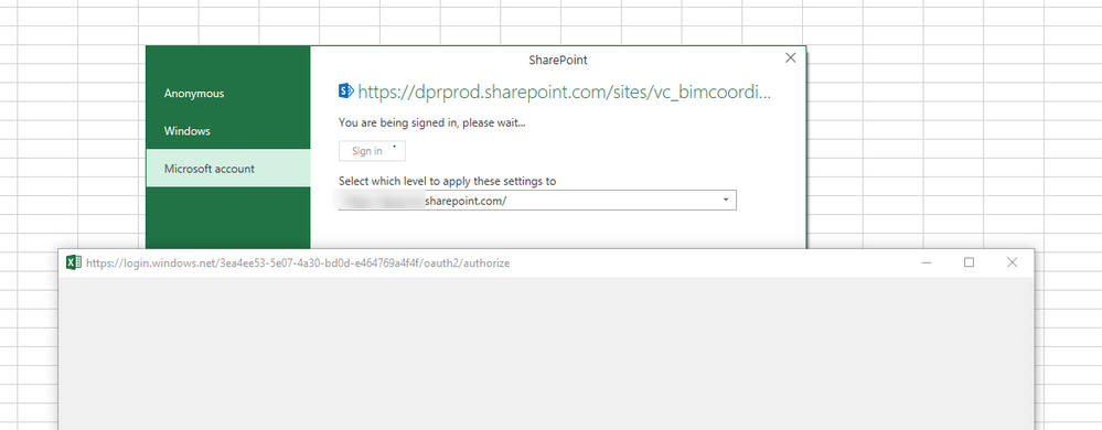 excel stuck at sharepoint sign in screen microsoft power bi community