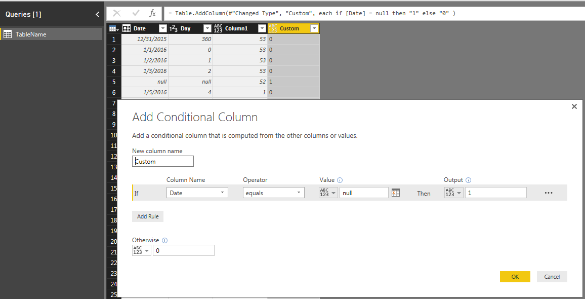 Check for null in conditional column - Microsoft Power BI