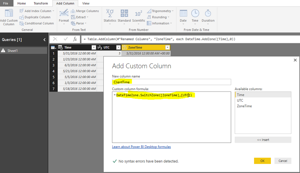 Solved: Convert UTC to client time zones? - Microsoft Power