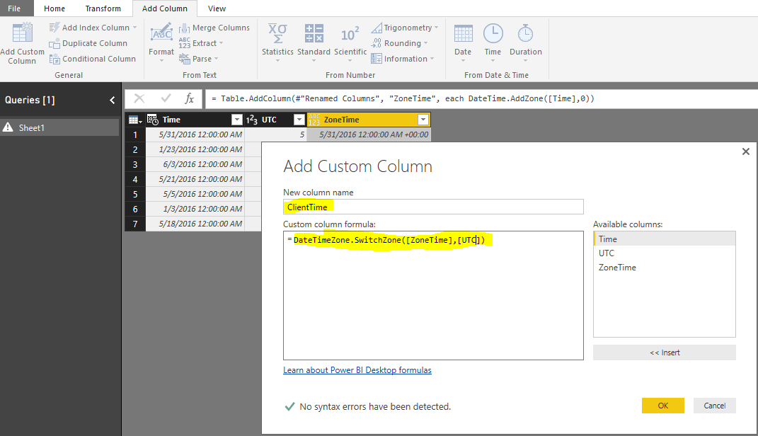 Solved: Convert UTC to client time zones? - Microsoft Power BI Community