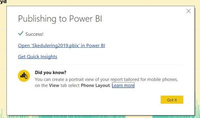 Differences between Power BI browser interface and