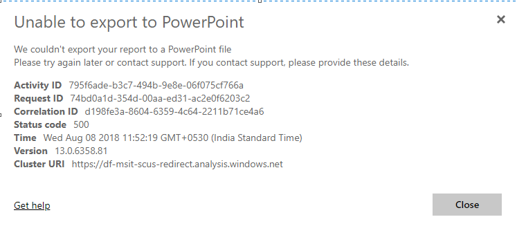 Export to powerpoint is not working  - Microsoft Power BI