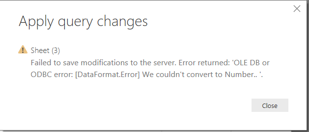Unable to apply query changes - OLE DB or ODBC err    - Microsoft