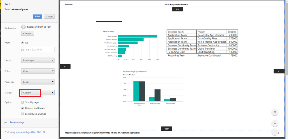 Printing a report from Power BI Service - Microsoft Power BI Community