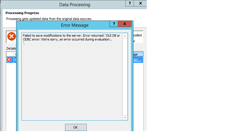 SSAS - Power Query - Load Sql Server tables giving