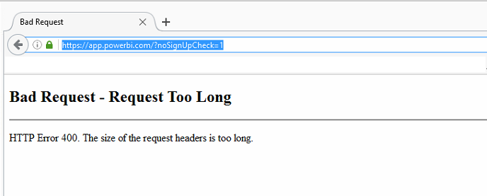 HTTP Error 400 (The Size of the request headers is... - Microsoft