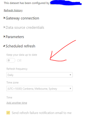 Solved: Scheduled refresh greyed out - Microsoft Power BI Community