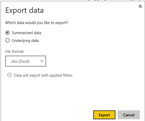 Solved: Export Underlying data option does not show up