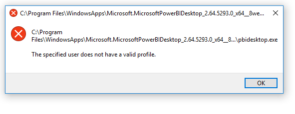 Solved: the specified user does not have a valid profile f