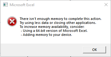 There isn't enough memory to complete this action     - Microsoft